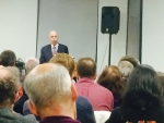 Roberts speaks to a capacity crowd on February 18th.