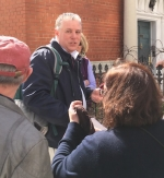Steve is a NYC Licensed Tour Guide. Shown here interacting with Walking Tour Guests.
